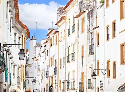 White Street in Evora. Portugal