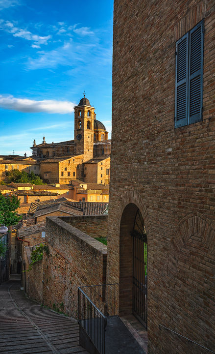 Urbino, street stairway and Ducal Palace