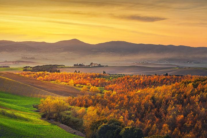 Autumn panorama in Santa Luce