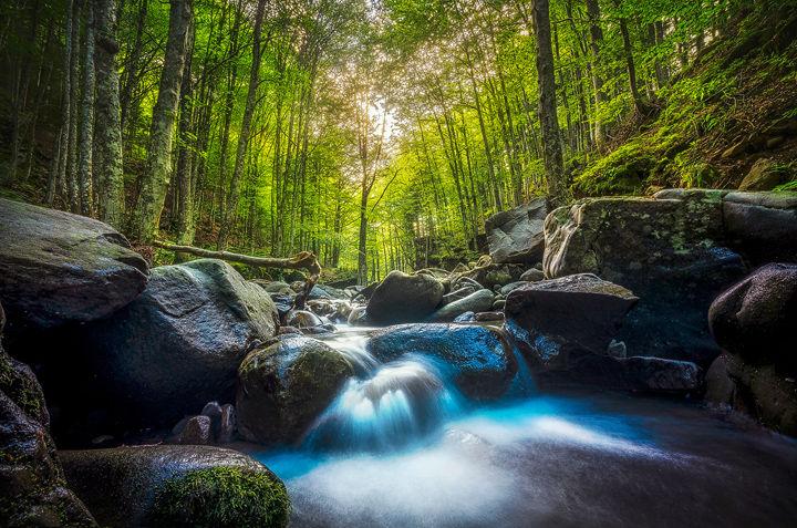 Stream waterfall inside a forest. Abetone
