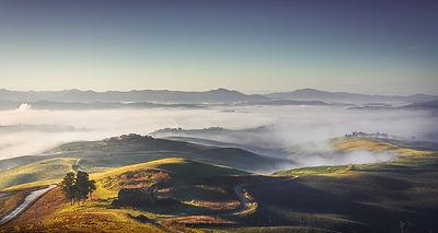 Volterra foggy landscape