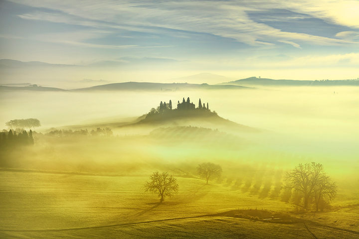 Farmland in a Foggy Morning