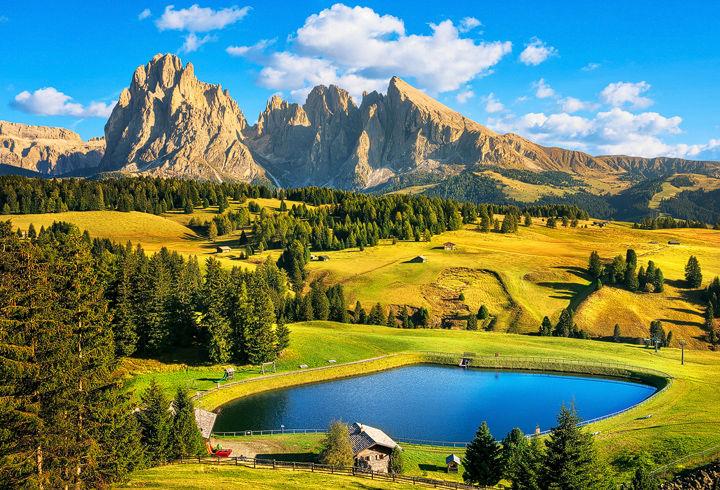 Lake and Mountains in Alpe di Siusi