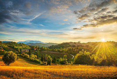 Urbino City and Countryside at Sunset