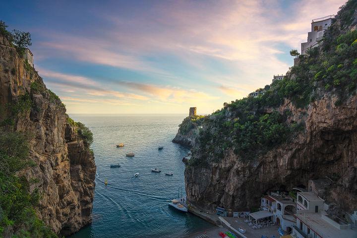 Furore beach bay in Amalfi coast