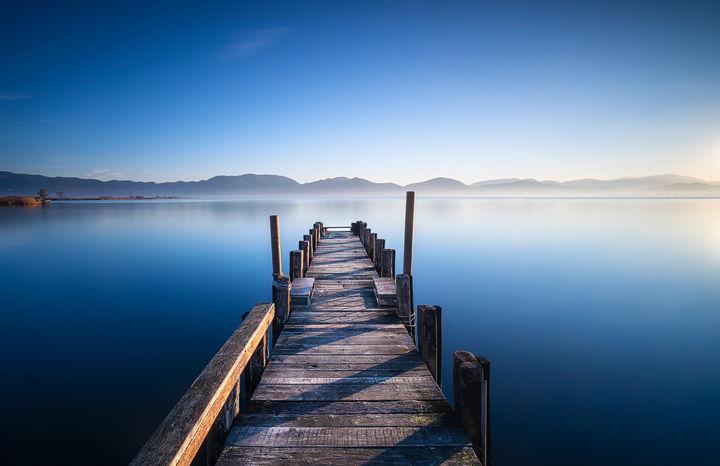 Pier in a Blue Lake