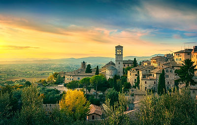 Assisi town at sunset