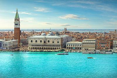 Venice Grand Canal aerial view.