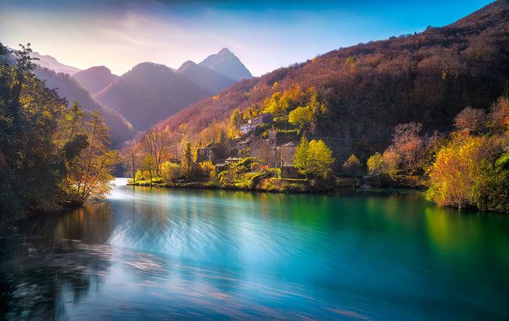 Isola Santa Village and Lake in Autumn