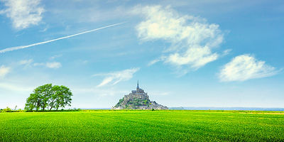 Mont Saint Michel trees and clouds