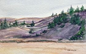 Along the Highway, watercolor, 9x6, $55 SOLD