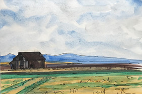 The Barn up North, watercolor and ink, 9x6, $55 SOLD
