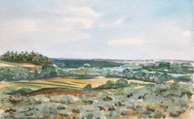 River Valley, watercolor, 9x6, $75 SOLD