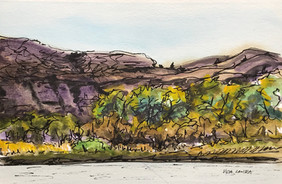 Below the Breaks, Beside the River, watercolor and ink, 9x6, $60  SOLD