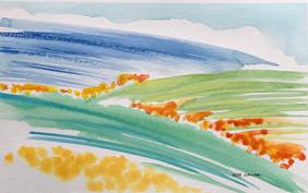 Wildflower Hills, watercolor, 9x6, $65