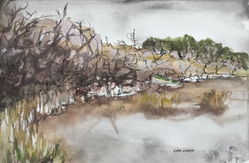 Fishing Hole, watercolor and ink, 9x6, $50 SOLD