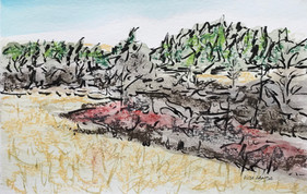 Hills in the Fall, pastel, watercolor and ink, 9x6, $55