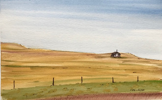 Little Schoolhouse on the Prairie, watercolor and ink, 9x6, $50 SOLD