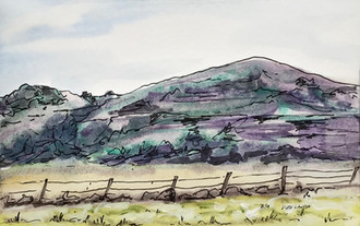 On the Outskirts of Rosebud, watercolor and ink, 9x6, $75
