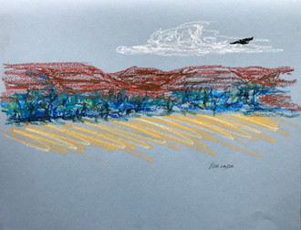 Fly Over, oil pastel, 11.25x9, $60