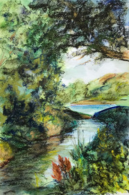View toward the River, pastel and watercolor, 6x9, $75 SOLD