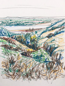 Yellowstone view #3, oil pastel and ink, 8.5x11, $75