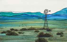 Distant Hills of Blue, watercolor and ink, 9x6, $50 SOLD