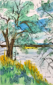 Beside the River, watercolor and ink, 6x9, $50 SOLD