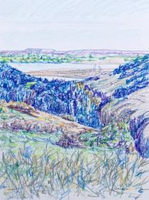 Yellowstone view #9, crayon, 9x12, $60