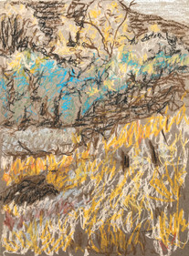 Grassy Hillside, oil pastel on cardboard, 9x12, $75