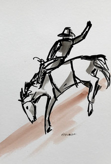 Ride'em, cowboy!, watercolor and ink, 6x9, $60 SOLD