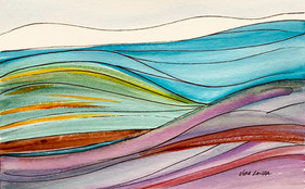 Simple Landscape, watercolor and ink, 9x6, $50 SOLD