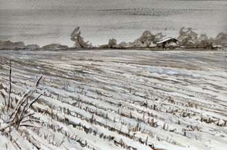 Snowy Field, watercolor, 11.5x9.5, $90
