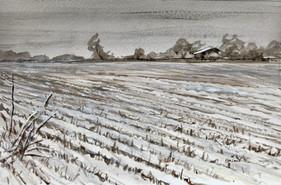 Snowy Field, watercolor, 11.5x9.5, $90