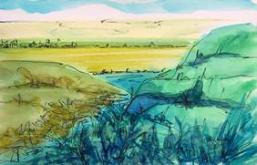 Overlook, watercolor and ink, 9x6, $50