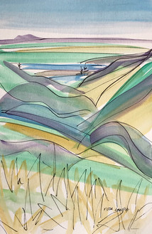 Views of the Yellowstone #2, watercolor and ink, 6x9, $75 SOLD
