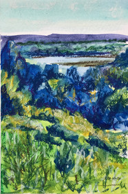 River View #1, pastel and watercolor, 6x9, $75 SOLD