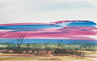 Pink and Blue Prairie Sunset, watercolor and ink, 9x6, $55 SOLD