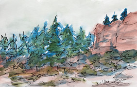 Hysham Rest Stop, watercolor and ink, 9x6, $75 SOLD