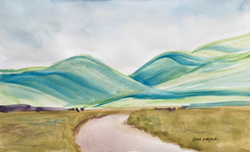 Head to the Hills, watercolor, 8.5x5.5, $40 SOLD
