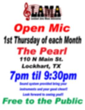Open Mic Poster 1st Thursday 2019-08-12