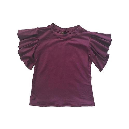 Purple Flounce Sleeve Top
