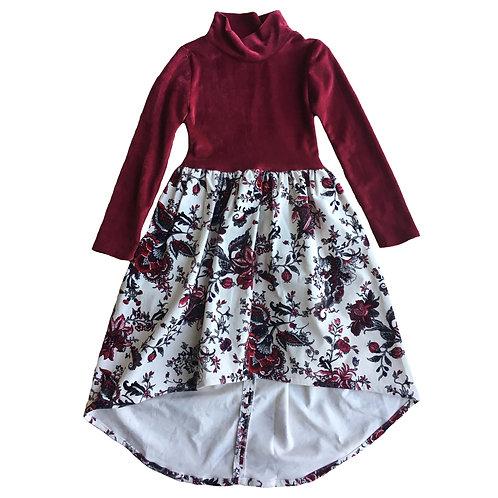 Maroon Floral Asymmetrical Dress