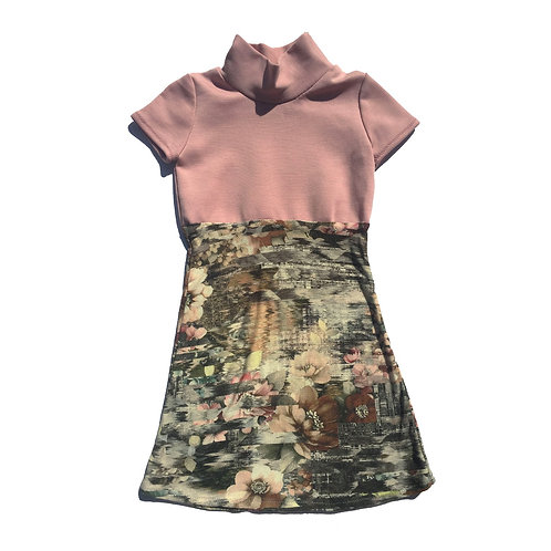 Dusty Rose Floral Two Tone Dress