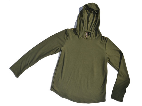 Hunter Green Hooded Stud Top