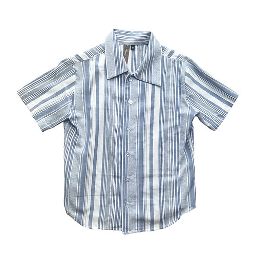 Blue Stripe Short Sleeve Button Down