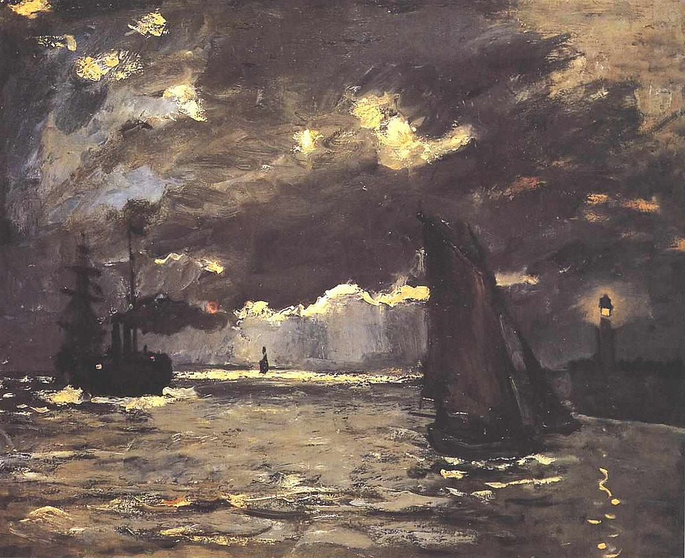 """Marine, navigation au clair de lune"", Claude Monet, 1864"