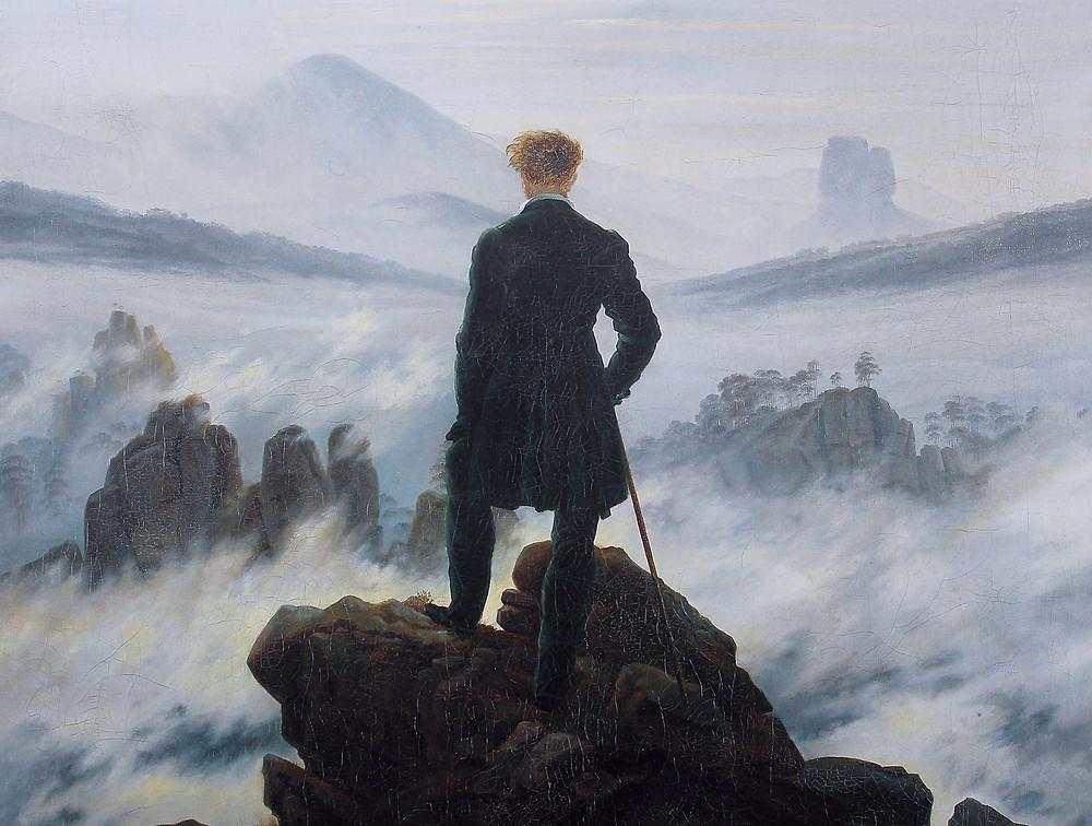 Le voyageur contemplant une mer de nuages, Caspar Friedrich, 1818.