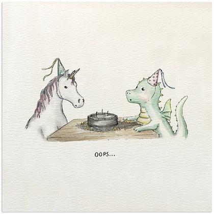 Dragon & Unicorn Birthday Card