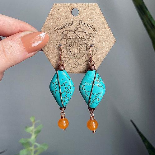 Turquoise Magnesite & Orange Quartz Earrings